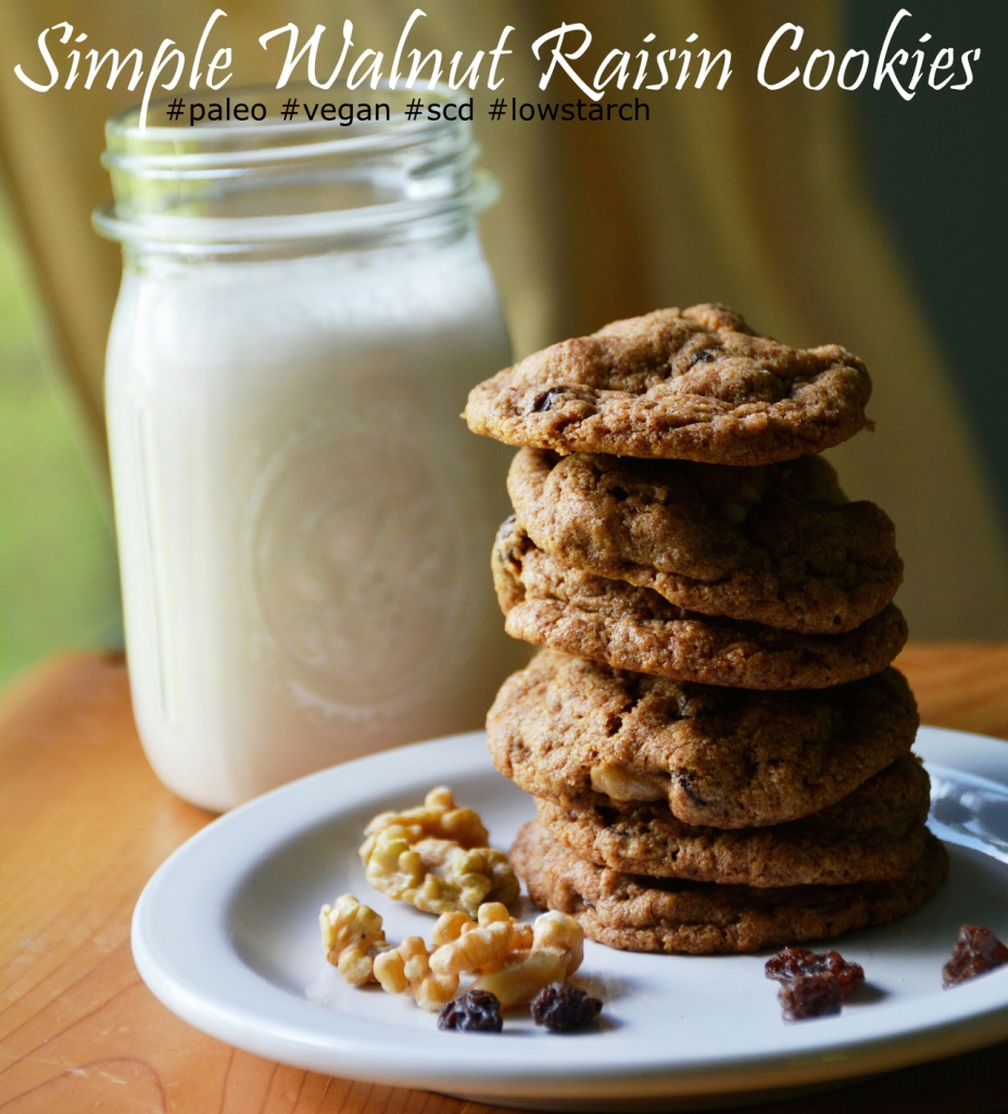 Walnut Raisin Cookies #grainfree #paleo #vegan #lowstarch #scd