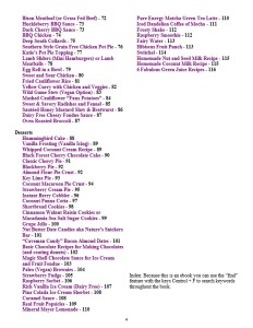 Pure and Simple Paleo Table of Contents